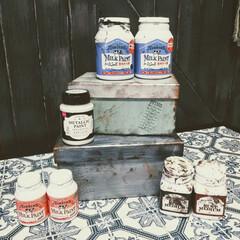 ターナー色彩 ミルクペイント ラストメディウム レッドブラウン/ダークブラウン 各100mL 2種類 錆 さび 古びたアンティーク ジャンク 水性塗料 DIY | ターナー(ペンキ、塗料)を使ったクチコミ「ペイント遊び😆 100均のペーパーBOX…」
