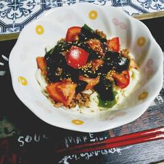 肉味噌和え麺/mizukiさんレシピ/mizuki/肉味噌/レンチンレシピ/時短レシピ/... 久しぶりのおうちごはん🍚  mizuki…