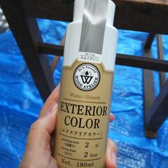 エクステリアカラー スカイグレー  水性着色剤 ウッドアトリエ | 和信ペイント(Washi Paint)(ニス、ステイン)を使ったクチコミ「気づけば10月最終日やん😅  今日はLI…」(4枚目)