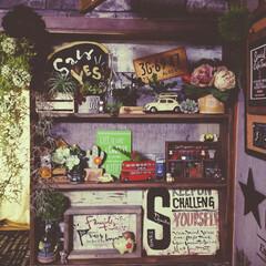 賃貸暮らし/カフェ風インテリア/男前インテリア/賃貸インテリア/セルフリノベーション/賃貸リノベーション/... ガラス障子の扉を取っ払って 飾り棚を作り…