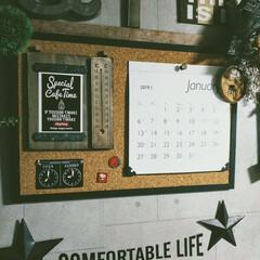 カフェ風インテリア/男前インテリア/賃貸インテリア/簡単DIY/カレンダーホルダー/フォロー大歓迎/... ポストカードサイズが飾れるカレンダーホル…