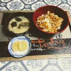 豚丼/晩ご飯/おうちごはん/おうち時間/住まい/暮らし 今日の晩御飯  汁だく豚丼と大根とワカメ…(1枚目)