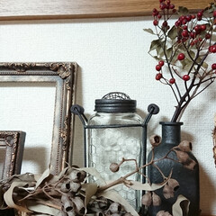木の実/ドライフラワーのある暮らし/ドライフラワー/ガラス瓶/アイアンペイント おはようございます🙇  自己満足の世界で…