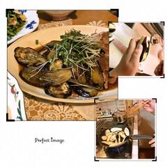 お豆腐のお味噌汁/小松菜の炒め物/豚肉と茄子の焼き浸し/料理の宿題/夕食 クッキーを焼いている間に 夜ご飯もつくっ…