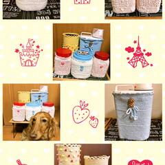 ボタン/ビーズ/毛糸/お菓子缶/プラ容器 ここ2.3日で 編み編み増産です。  ド…