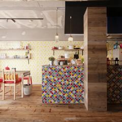 対面キッチン/カフェ風/北欧/コンクリート/ヴィンテージ/クリナップ お好みに合わせてカラーリングしたタイル貼…