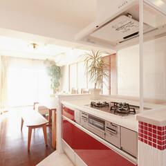 キッチン/タイル/アイランドキッチン/二列型/クリナップ/クリンレディ 面材とタイルの赤がキッチン全体を明るく楽…