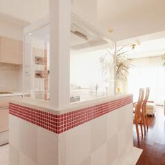 キッチン/タイル/アイランドキッチン/二列型/クリナップ LDKに続く明るく開放的なキッチンにリフ…