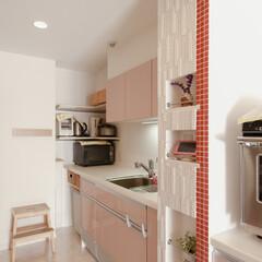 キッチン/タイル/アイランドキッチン/二列型/クリナップ/クリンレディ 小物用飾り棚を造作し、エコカラットを採用