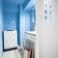 塗装壁/フロアータイル/オリジナルデザイン/アンティーク/水色/ブルー/... 壁のガラスブロックがこだわり。鮮やかなブ…