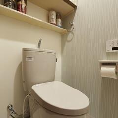 トイレ/TOTO/飾り棚/ピュアレスト/江戸川区 収納棚と飾り棚、アクセントクロスでコンパ…