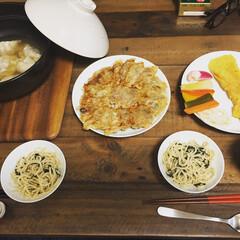 餃子スープ/焼餃子/だし巻き玉子/ペペロンチーノ/ピクルス/わたしのごはん 自分の好きな人の家で作ったご飯です。 あ…
