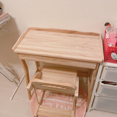 ナチュラル/洋室/子供部屋/DIY/雑貨/収納/... 娘のドレッサー兼勉強机を作成  椅子は高…