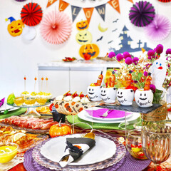 ホームパーティー/ハロウィンごはん/おうちハロウィン/ハロウィンパーティー/ハロウィン2019 大好きなお友達を招いて、 初めておうちで…(1枚目)