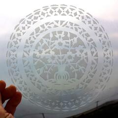 サンドブラスト/ガラス/IKEA/レースペパナプ レースペパナプみたいなデザインを彫りまし…