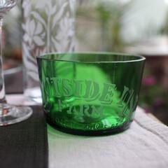 ペリエ/サンドブラスト/ガラス/小鉢/シャビーシック ペリエの瓶をカットして、小鉢を作りました…
