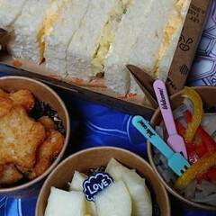 #私のごはん/わたしのごはん/セリア カフェ風 お弁当 おしゃれ/インスタばえ/誉 セリアの紙製品パッケージで カフェ風 お…
