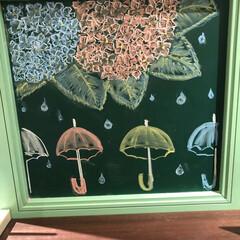 夏/絵/チョーク/黒板/黒板アート 今月のチョーク絵🖼 来月入院で、7月まで…