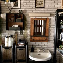 フェイクグリーン/インダストリアルインテリア/男前インテリア/団地インテリア/団地DIY/洗面台DIY/... 大きな変化ではありませんが洗面台左側の棚…