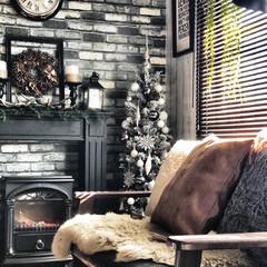 暖炉型ファンヒーター/マントルピース/フェイクグリーン/インダストリアルインテリア/男前インテリア/団地暮らし/...