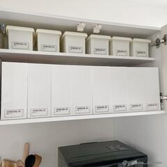 キッチン収納/カップボード収納/100均収納/ダイソー/ニトリ/ニトリ収納/... 中は、お弁当グッズや型抜き、ゴミ袋、廃油…(1枚目)