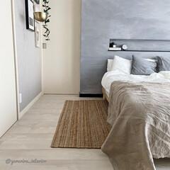 ジュートラグ/麻ラグ/ラグ/寝室/主寝室/寝室インテリア IKEAのジュートラグを主寝室に敷きまし…