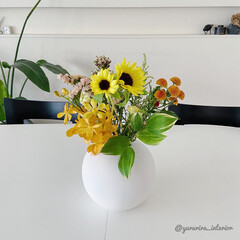 花のある暮らし/花の定期便/モノトーン/モノトーンインテリア/cooee お花の定期便【medelu】よりイエロー…