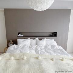 寝室/寝室インテリア/主寝室/ベッド周り/IKEA/北欧インテリア/... 我が家の主寝室。ベッドリネンはIKEAの…