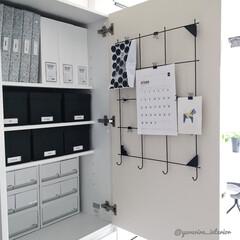 生活用品収納/文房具収納/モノトーンインテリア/IKEA/イケア/無印良品/... カップボードの一角は、生活用品・薬・文房…