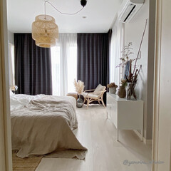 IKEA/ペンダントライト/主寝室/ベッドルーム/寝室インテリア IKEAの竹製ペンダントライトを主寝室に…
