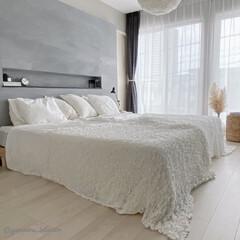 主寝室/寝室インテリア/ベッドカバー/ベッドリネン/IKEA/海外インテリア ベッドカバー類はほとんどIKEAのものを…