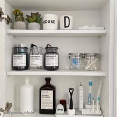 洗面所収納/歯ブラシ収納/モノトーンインテリア/洗面所/海外インテリア/北欧インテリア/... 洗面所収納。洗面所の鏡は中が棚になってい…