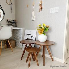 北欧インテリア/北欧雑貨/ニトリ/ネストテーブル/花のある暮らし/海外インテリア 花をニトリのネストテーブルに飾ってみまし…