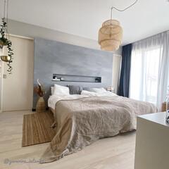主寝室/ベッドルーム/寝室インテリア/IKEA/海外インテリア 我が家の寝室。布団カバーや雑貨類はほぼI…