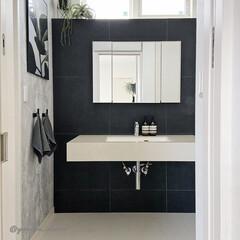 洗面所/洗面所インテリア/洗面台/モノトーンインテリア/海外インテリア/ソープディッシュ/... 我が家の洗面所です。洗面台下に収納スペー…
