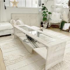 強化ガラス/ガラス/ロッキングチェア/ソファー/ラグ/ボヘミアン/... 夏ラグに合わせて作ったテーブルです