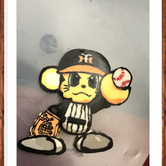 デコペンチョコ/野球マスコット/阪神タイガース/誕生日プレート/100均/ハンドメイド チョコプレート!友達の子供からのリクエス…