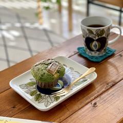 かぎ針編みコースター/器のある暮らし/器好き/器を楽しむ暮らし/北欧食器/抹茶マフィン/... 抹茶ホワイトチョコマフィンを作りました。…(1枚目)