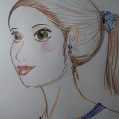 おしゃれ/手作りアクセ/最近のコーデ/暮らし 久しぶりに 人物画を描いてみました  女…