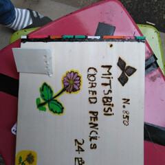 お絵かきセット/ハンドメイド/手作り/ハンドメイド作品/LIMIA手作りし隊/第3回わたしのハンドメイド 色鉛筆の箱の続きです 左右の色の着いてい…(1枚目)