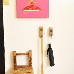 玄関インテリア/玄関/模様替え/壁掛けフック/ゴミ/ゴミDIY/...  【ゴミDIY】で作ったシンプル可愛い …