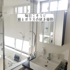 浴室/洗面所/鏡洗面台用クロス/そうじの神様/拭き掃除/鏡とガラスの拭き掃除/... こんばんは😃🌃 . . 今日のこそうじは…(1枚目)