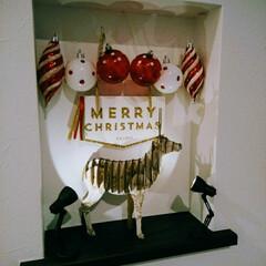 ライト/クリスマス/トナカイ/ダマスク柄/ダイソー/100均 ダイソーのトナカイにダマスクでデコパして…