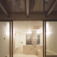 名古屋/フロストガラス/エキスパンドメタル バスルームに面する庭、上部はテラス。