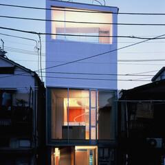大井町/狭小/店舗併用/屋上テラス 外観夜景。