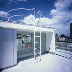 大井町/狭小/店舗併用/屋上テラス ガラスの奥はバスルーム上部、その上に第2…
