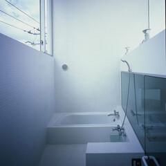 大井町/モザイクタイル/吹抜 4mの天井高さのバスルーム。