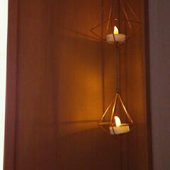 100均/ダイソー/インテリア/玄関/ヘキサゴン/ハンギング/... 夜の廊下はほっこりライトで。