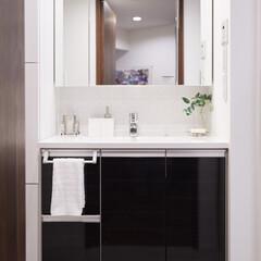 洗面室/洗面化粧台/モノトーン/機能的 モノトーンでしつらえた機能的な洗面化粧台。
