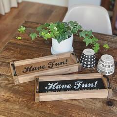 ステンシル/木工/端材DIY/トレイDIY/DIY/キッチン雑貨/... 端材で作った小さめのトレイ!  ステンシ…